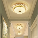 Scalloped Crystal Flush Mounted Light Modern Style Corridor LED Close to Ceiling Lighting Fixture in Gold