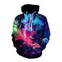 Stylish Mens 3D Colorblock Pattern Pocket Drawstring Long Sleeve Regular Fitted Hooded Sweatshirt