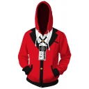 Anime Cosplay Custome Suit 3D Print Long Sleeve Drawstring Zipper Front Relaxed Hoodie in Red