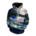 Fancy Mens 3D Bird Mountain Galaxy Pattern Pocket Drawstring Long Sleeve Regular Fit Hooded Sweatshirt
