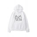 Korean Girls Cartoon Rabbit Print Long Sleeve Kangaroo Pocket Relaxed Hoodie