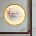 Gold Round/Square Wall Mural Lamp Asia Metallic LED Wall Light Fixture with Peach Blossom/Sunrise Pattern