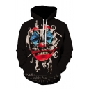 Dressy Mens 3D Character Hand Letter on a Happy Face Printed Pocket Drawstring Long Sleeve Regular Fit Graphic Hoodie