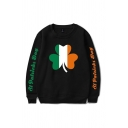 Stylish Colorblock Clover Letter St Patrieks Day Printed Pullover Long Sleeve Round Neck Regular Fit Graphic Sweatshirt for Men