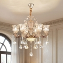 European Style Floral Pendant Lamp 6 Bulbs Clear Crystal Hanging Chandelier in Gold