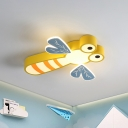 Cartoon Dragonfly Flush Mount Lamp Acrylic LED Bedroom Ceiling Light Fixture in Pink/Yellow