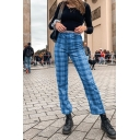 Chic Womens Plaid Print High Rise Ankle Length Flared Pants in Blue