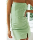 Stylish Womens Green Spaghetti Straps Hollow out Back Slit Front Mini A-line Cami Dress