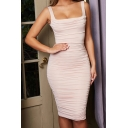 Pretty Solid Color Square Neck Ruched Mid Bodycon Tank Dress for Girls