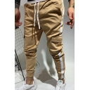 Creative Mens Side Stripe Drawstring Flap Pockets Ankle Length Tapered Fit Khaki Cargo Pants for Men