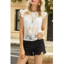 Chic Womens Sheer Lace Allover Floral Embroidered Ruffled Sleeveless Round Neck Regular Fit Tee in White