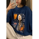 Womens Popular Letter Cartoon Graphic Half Sleeves Crew Neck Loose Fit T-shirt