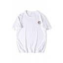Simple Mens Wave Letter Printed Short Sleeve Round Neck Loose Fitted T-Shirt