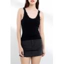 Girls Lace Trimmed Scoop Neck Slim Fit Crop Knit Tank Top in Black