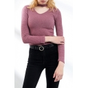 Simple Womens Long Sleeve Crew Neck Cut out Knit Slim Fitted T Shirt in Pink
