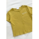 Cute Girls Letter Mysterious Printed Button Down Crew Neck Short Sleeve Slim Fit T Shirt