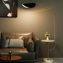 Extendable Arched Floor Light Mid Century Metal 1-Light Gold Floor Standing Lamp with Marble Table and Black Leaf Shade