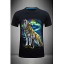 Stylish Mens 3D Aurora Wolf Printed Crew Neck Short Sleeve Slim Fitted T-Shirt