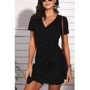 Elegant Womens Plain Short Sleeve Surplice Neck Twist Front Mini Wrap Dress