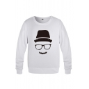 Popular Mens Cartoon Printed Long Sleeve Crew Neck Relaxed Fit Pullover Sweatshirt