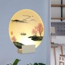 Acrylic Fishing Wall Mount Mural Light Chinese LED Circular Wall Lamp Kit in White