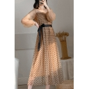 Boutique Womens Polka Dot Pattern Sheer Mesh Long Sleeve Square Neck Bow Tie Waist Mid Pleated A-line Dress in Brown