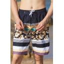 Unique Mens Color Block Floral Print Drawstring Knee Length Regular Fit Shorts with Pocket
