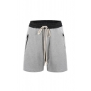 Causal Mens Color Block Zipper Drawstring Knee-length Regular Fitted Shorts