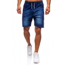 Mens Cool Solid Color Pocket Drawstring over the Knee Length Slim Denim Shorts