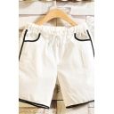 Simple Mens Contrast Trim Drawstring Mid Rise Regular Fitted Short Sweatpants with Pocket