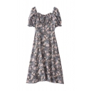 Vintage Ladies Ditsy Floral Printed Pleated Tie Detail Ruffle Trim Zip Back Square Neck Short Puff Sleeve Midi A Line Dress in Blue