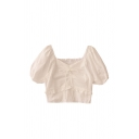 Fashion Womens Solid Color Pleated Ruffle Trim Tie Detail V Neck Short Puff Sleeve Slim Fit Crop Blouse