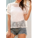 Fancy Womens See-through Lace Stringy Selvedge Puff Sleeve Crew Neck Regular Fit T-shirt in White