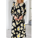 Popular Womens Allover Daisy Floral Print Long Sleeve Round Neck Bow Tied Waist Mid A-line Dress