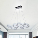 Stainless-Steel Hoops Island Lighting Modernism Faceted Crystal LED Hanging Lamp Fixture