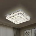 3-Square Frame Bedroom Semi Flush Lamp Crystal Block LED Modern Flush Mount Fixture in Stainless-Steel