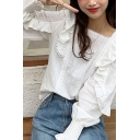 Chic Womens White Ruffled Trim Long Sleeve Square Neck Embroidered Loose Fit Blouse Top