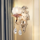 Gold 1 Head Wall Lighting Mid Century Crystal Glass Corner Wall Mount Lamp Fixture
