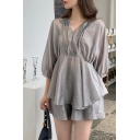 Deconstructed Ladies Solid Color 3/4 Sleeve V-neck Ruched Tiered Ruffled Hem Relaxed Fit Blouse Top