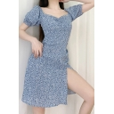 Pretty Womens Ditsy Floral Print Puff Sleeve Sweetheart Neck Ruched Slit Side Short A-line Dress