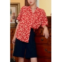 Vintage Girls Ditsy Floral Printed Button Down Lapel Collar Short Sleeve Regular Fit Shirt in Red