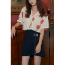 Trendy Girls Rose Printed Button Down Collar Short Sleeve Relaxed Fit Shirt in Yellow