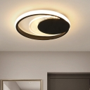 Moon-Shaped Ultrathin Flush Mount Light Simple Acrylic Black/White LED Close to Ceiling Light in Warm/White Light