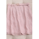Fashion Womens Solid Color Mesh Patchwork Arrow Embroidery Print Belt Side Zip High Rise Short A Line Skirt in Pink