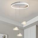 White Saucer Cluster Pendant Modern Style 3-Light Aluminum LED Suspended Lighting Fixture in Warm/White Light