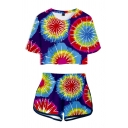 Popular Womens Tie Dye Printed Short Sleeve Crew Neck Relaxed Crop Tee & Contrasted Shorts Set