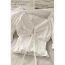 Sexy Womens Solid Color Pleated Button Embellished Drawstring Cut Out Ruffle Cuff Lace Trim V Neck Half Sleeve Slim Fit Crop Top