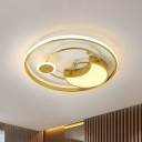 Moon and Ring Acrylic Flushmount Nordic Style LED Gold Flush Mounted Light Fixture