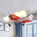 Red Finish Bullet Shape Ceiling Chandelier Cartoon 4 Bulbs Frosted Glass Pendulum Light