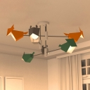 Bird-Like Kids Room Semi Flush Lighting Metal 6-Bulb Cartoon Flush Mount Lamp Fixture in Grey-Yellow-Green